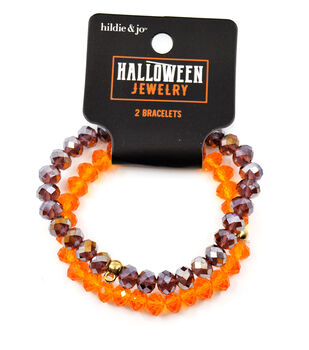 hildie & jo Halloween Jewelry Crystal Stretchy Bracelets-Purple & Orange