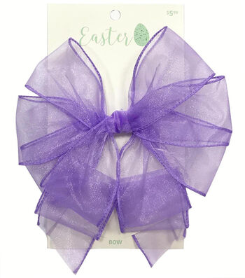 Easter Decorative Sheer Bow 9''x5''-Purple
