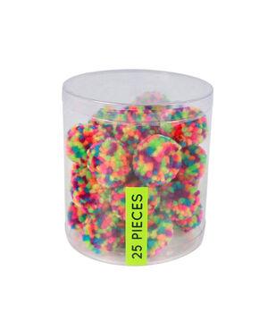 Fab Lab Yarn Pom Poms 25/Pkg-Solid Multicolor