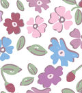 Nursery Flannel Fabric -Multi Floral on White