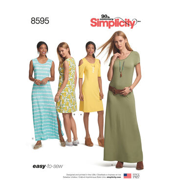 Simplicity Pattern 8595 Misses' Easy-to-Sew Knit Dresses-Size A (XS-XL)