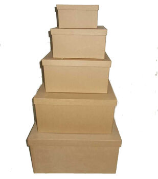 Square Paper Mache Boxes Value Pack