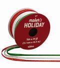 Maker\u0027s Holiday Traditional Holiday Ribbon 1/8\u0027\u0027x54\u0027-Red, Green & White