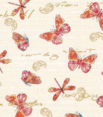 "Premium Quilt Cotton Fabric 44""-Dragonflies & Butterflies"