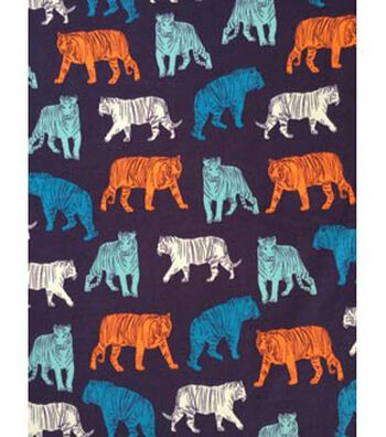 Doodles Juvenile Apparel Fabric 57''-Bold Tigers