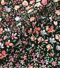 Silky Stretch Chiffon Fabric-Black Pink Purple Mini Floral