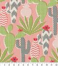 PKL Studio Outdoor Fabric-Cute Cactus Hibiscus