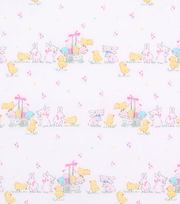 Easter Cotton Fabric -Ditsy Bunny & Chicks