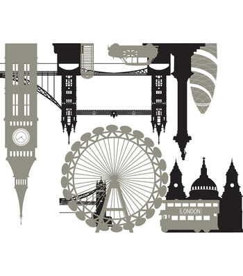 Wall Pops London Calling Wall Art Decal Kit, 2 Piece Set