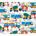 Super Snuggle Flannel Fabric-Construction Trucks In Line