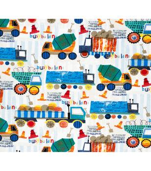 Super Snuggle Flannel Fabric-Construction Trucks In Line