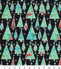 Keepsake Calico Holiday Cotton Fabric 43\u0022-Scrolly Trees And Stars