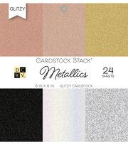 DCWV 24 Pack 6''x6'' Glitzy Cardstock Stack-Metallics, , hi-res