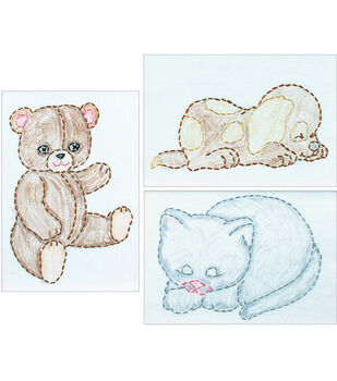 "Wht Stmpd Beginner Embroidery Kit 6""X8"" Samplers 3/Pkg-Huggable Animals"