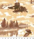 Novelty Cotton Fabric-Tan Eagle Scene