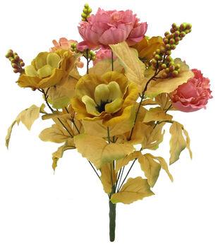 Blooming Autumn Peony, Anemone & Berry Bush-Mustard & Pink