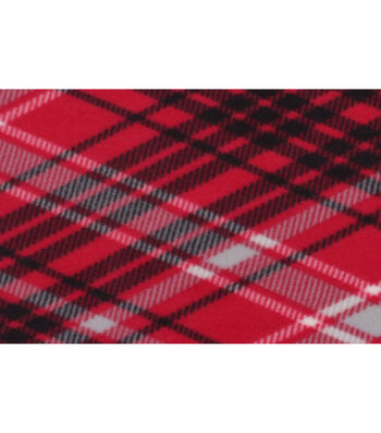 """Blizzard Fleece Fabric 59""""-Kate Red & Gray Plaid"""