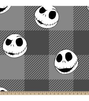 Nightmare Before Christmas Fleece Fabric-Jack Head Tossed Plaid