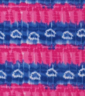 Anti-Pill Fleece Fabric -Pink Blue Tie Dye Stripe Hearts