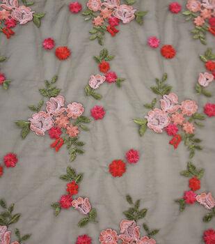 Casa Embellish Dahlia Fashion Apparel Fabric-Multi Embroidered Floral