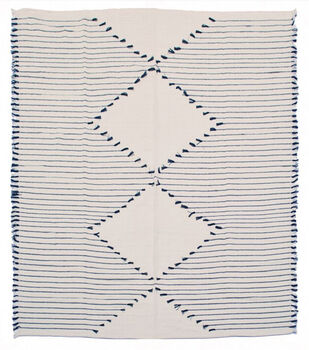 Indigo Mist 50''x60'' Woven Throw-Blue & Cream