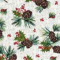 Christmas Print Fabric 43\u0027\u0027-Pinecone on White Wood Grain