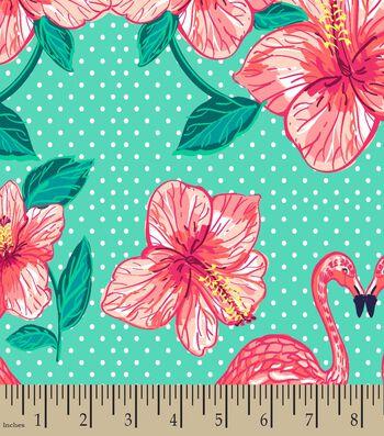 Flamingo Flowers Print Fabric
