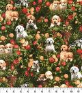 Novelty Cotton Fabric-Puppies Garden