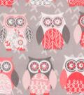 Anti-Pill Plush Fleece Fabric 58\u0022-Owls Blush Gray