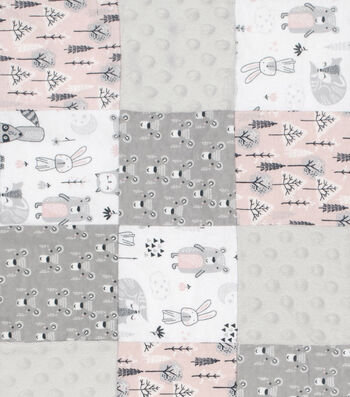 Nursery 3D Patchwork Fabric-Woodland Animals