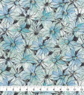 Keepsake Calico Cotton Fabric-Teal Watercolor Floral
