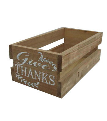 Blooming Autumn Wood Crate-Give Thanks
