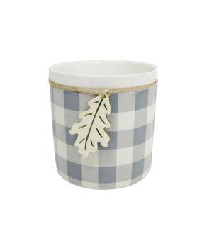 Blooming Autumn Medium Stoneware Container-Gray & White Checks