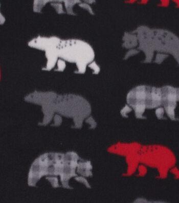 "Blizzard Fleece Fabric 59""-Multi Colored Bears on Black"