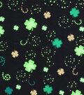 St. Patrick\u0027s Day Print Fabric 44\u0027\u0027-Metallic Shamrock & Scroll Dots