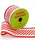 Maker\u0027s Holiday Christmas Ribbon 2.5\u0027\u0027x25\u0027-Red & White Candy Stripes