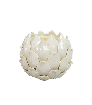 Simply Autumn 4.25''x3.25'' Glass Artichoke Candle-White
