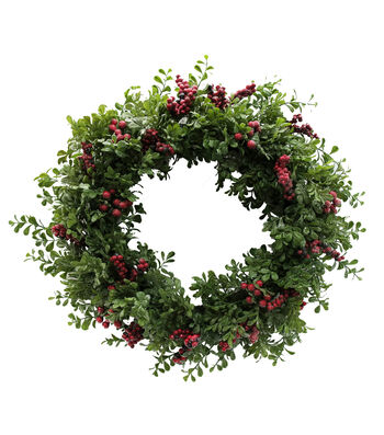 Blooming Holiday Christmas 23'' Frosted Eucalyptus Wreath with Berries