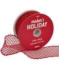 Maker\u0027s Holiday Christmas Glitter Mesh Ribbon 1.5\u0027\u0027x30\u0027-Red