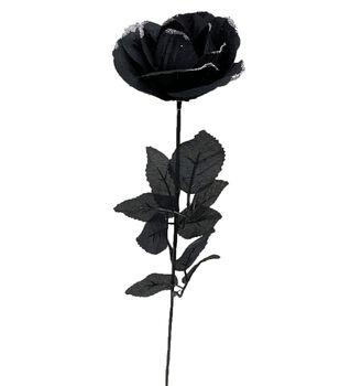 Maker's Halloween Black Rose Stem with Silver Glitter