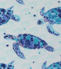 Anti-Pill Fleece Fabric -Watercolor Sea Turtles