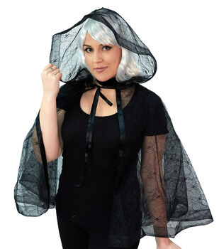 Maker's Halloween Adult Mid Spider Lace Cape with Hood