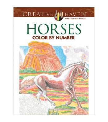 Adult Coloring Book-Creative Haven Horses Color By Number