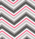 Snuggle Flannel Fabric 42\u0022-Pink Dotted Chevron