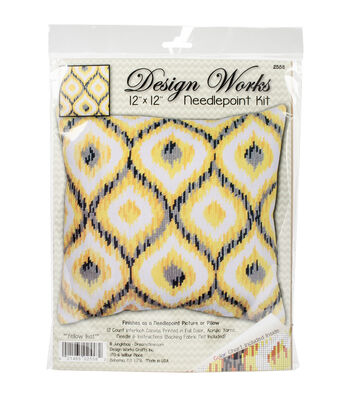 "Design Works Neeedlepoint Kit 12""X12""-Yellow Ikat-Stitched In Yarn"