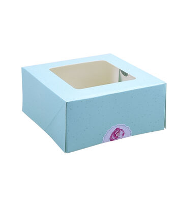 Easter 2 pk Square Cookie Boxes with Rose Sticker-Blue
