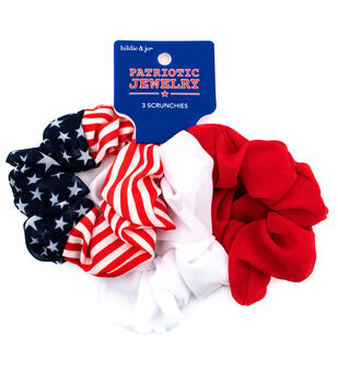 hildie & jo Patriotic Jewelry 3 pk Scrunchies-Stripes, Stars & Solid