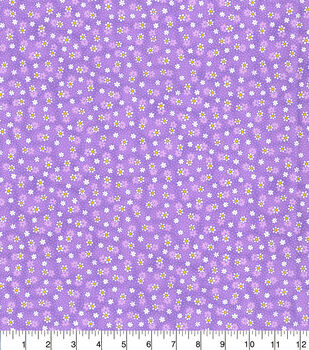Keepsake Calico Cotton Fabric-Purple Small Daisy