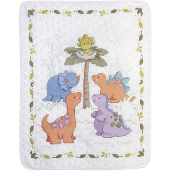 Bucilla Cute-A-Saurus Crib Cover Stamped Cross Stitch Kit