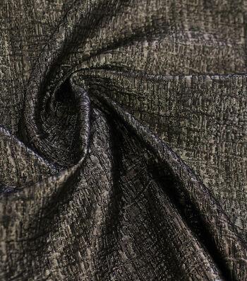 Metallic Textured Jacquard Fabric-Gold & Black